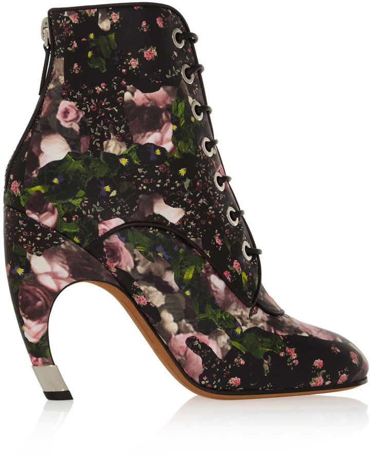 Givenchy Floral-Print Leather Ankle Boots