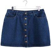 MSSHE Women's Button Front Denim Mini Skirt Plus