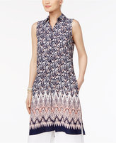 Cable & Gauge Mixed-Print High-Low Tunic Shirt