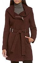 Calvin Klein Faux Wool Basket Weave Hooded Wrap Coat