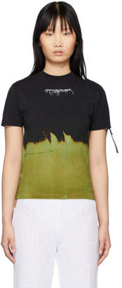 Ottolinger Black and Green Bleached T-Shirt