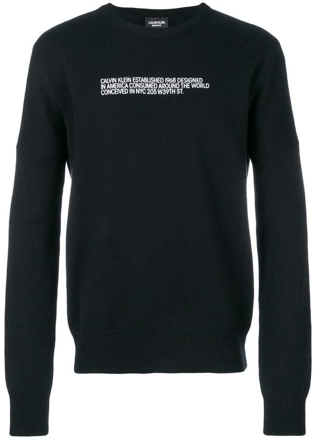 Calvin Klein slogan knitted jumper