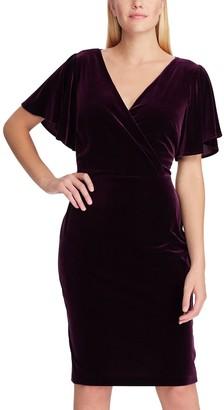 Chaps Women's Flutter Sleeve Velvet Sheath Dress