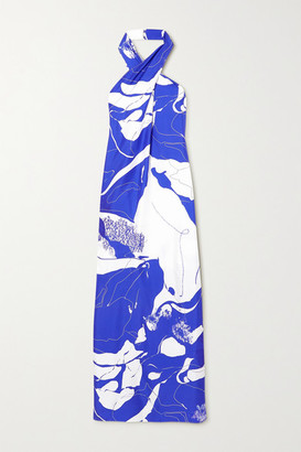 CHRISTOPHER ESBER Printed Silk-twill Halterneck Maxi Dress - Blue