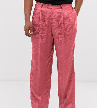 Heart N Dagger wide leg pants in pink texture