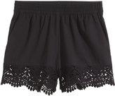 H&M Lace-trimmed Cotton Shorts - Black - Ladies