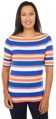Lauren Ralph Lauren Striped Cotton Top (Heritage Royal Multi) Women's Clothing