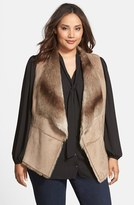 Kristen Blake Plus Size Women's Faux Shearling Vest