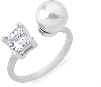 Majorica Faux Pearl & Crystal Open Ring