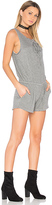 Bella Dahl Lace Up Romper in Gray. - size L (also in )