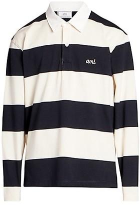 AMI Paris Striped Rugby Polo Shirt
