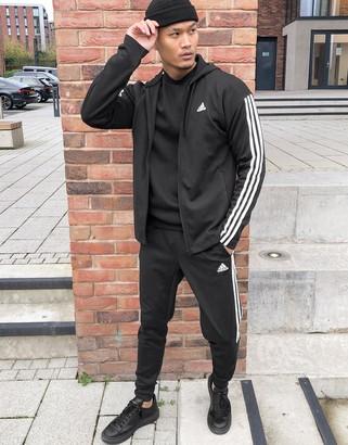 adidas Training 3 stripe Tiro tracksuit in black