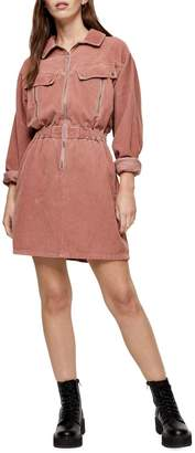 Topshop Recycled Cotton Corduroy Zip Shirt Dress