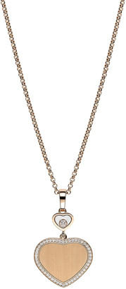 Chopard Happy Hearts 18k Rose Gold Pendant Necklace with Diamond and Pave