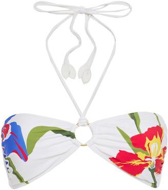 Tory Burch Iris Ring-embellished Floral-print Bandeau Bikini Top