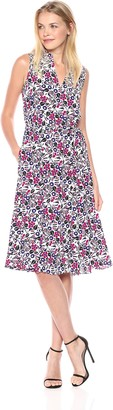 Anne Klein Women's Drawstring Midi Dress with Lining-Printed CDC