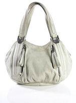 B. Makowsky Gray Leather Small Round Satchel Handbag
