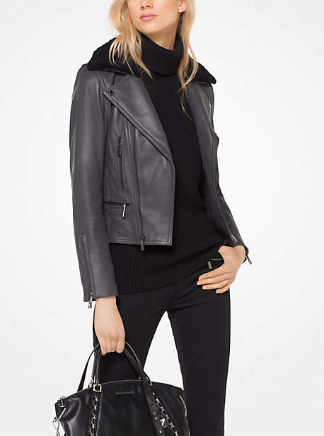 Michael Kors Shearling And Leather Moto Jacket