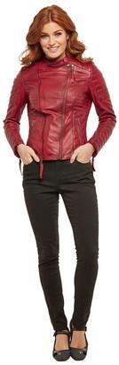 Joe Browns Zip-Up Leather Biker Jacket with Pockets