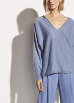 Cashmere Linen Double V-Neck Pullover