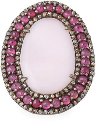 Rubie's Costume Co Bavna Flat Pink Opal Ring w/ Glass Rubies, Size 7