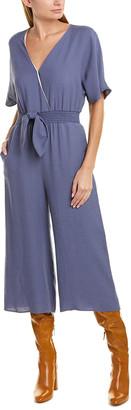 Lavender Brown Tie-Front Linen-Blend Jumpsuit