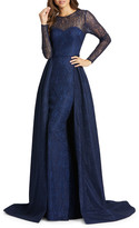 Mac Duggal Long-Sleeve Lace Illusion Column Gown w/ Overskirt