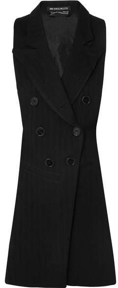 Ann Demeulemeester Open-back Herringbone Wool-blend And Satin-twill Vest - Black