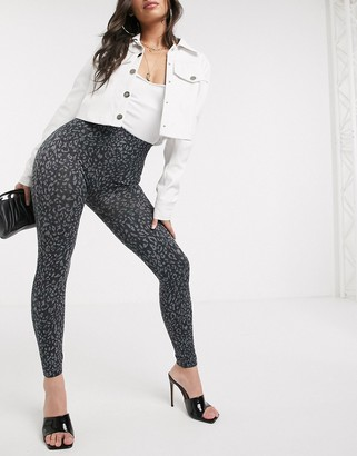 Spanx Look at Me Now double layer waistband leopard print legging in black