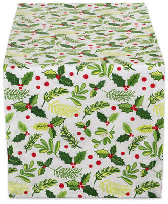 """Design Imports Boughs of Holly Print Table Runner 14"""" x 108"""""""