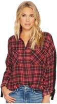 BB Dakota Emiley Plaid Printed Crepe de Chine Top