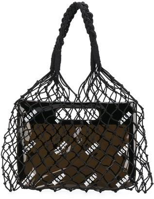 MSGM Mesh Logo Print Tote Bag
