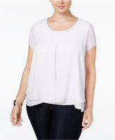NY Collection Plus Size Cap-Sleeve Flyaway Blouse