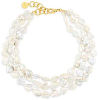 """Nest Goldplated 16MM Baroque Freshwater Tiered Necklace/17"""""""