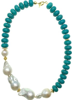 Farra Turquoise With Baroque & Edison Pearls Short Necklace