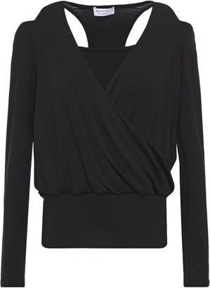 Bailey 44 Cold-shoulder Wrap-effect Jersey Top