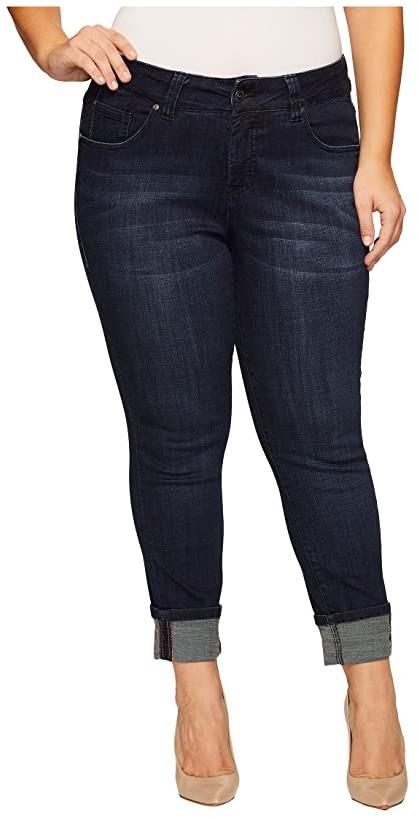 Jag Jeans Plus Size Maddie Skinny Cuff Crosshatch Denim in Night Breeze