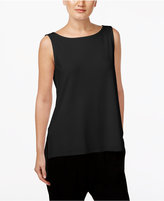 Eileen Fisher High-Low Boat-Neck Shell