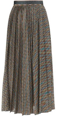 Missoni Metallic-stripe Pleated Midi Skirt - Black Multi
