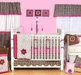 Bacati Damask Pink/Choc 9pc Crib Set
