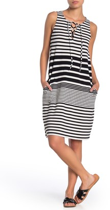 Tommy Bahama Beach Glass Stripe Lace-Up Cover-Up Dress