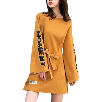 MINGGER T Shirt Dresses for Women Autumn Fashion Knee Length Round Neck Bandage Waist Wide Sleeve Yellow