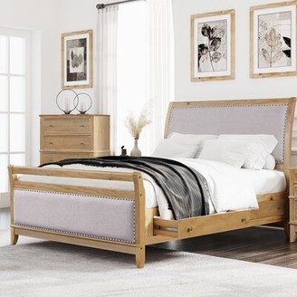 August Grove Danique Solid Wood and Upholstered Low Profile Storage Platform Bed Size: King