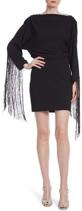 ONE33 SOCIAL Drape Back Fringe Long Sleeve Cocktail Dress