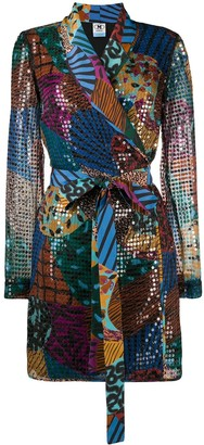 M Missoni Sequin Multi-Print Wrap Dress