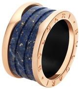 Bulgari Bvlgari B. Zero 1 18K Rose Gold Blue Marble Band Ring