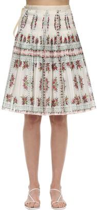 Tory Burch Printed Cotton Voile Plisse Midi Skirt