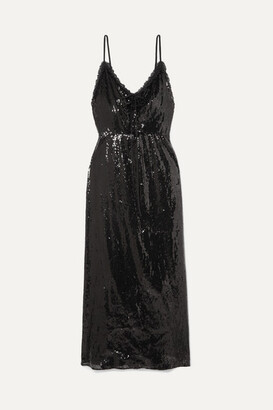 Miu Miu Open-back Lace-trimmed Sequined Crepe Midi Dress - Black