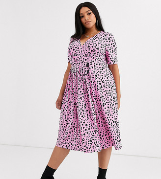 Asos DESIGN Curve pleated skirt midi dress with button detail in animal print-Multi