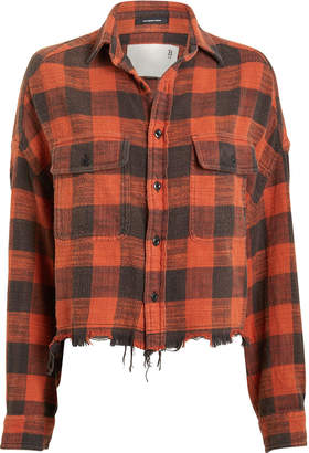 R 13 Cropped Plaid Work Shirt